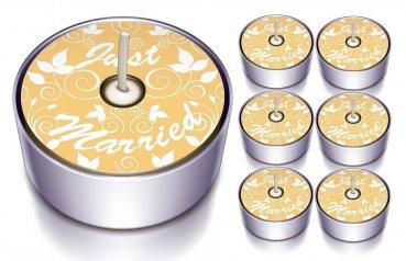 Design-Lichter - Just Married - Teelicht 6er Set