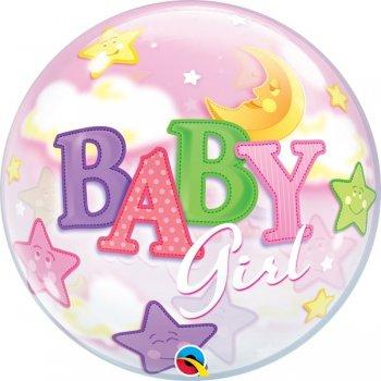 Single Bubble Ballon - Baby Girl Moon & Stars