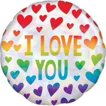 Folienballon - Iridescent Rainbow Hearts