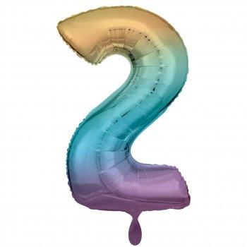 Folienballon - Zahl 2 XXL - Regenbogen pastell