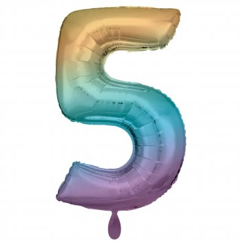 Folienballon - Zahl 5 XXL - Regenbogen pastell