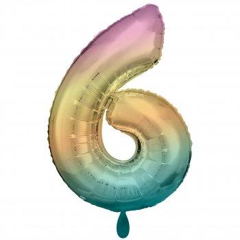 Folienballon - Zahl 6 XXL - Regenbogen pastell