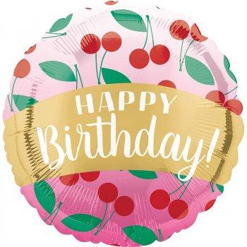 Folienballon - Happy Birthday Cherries