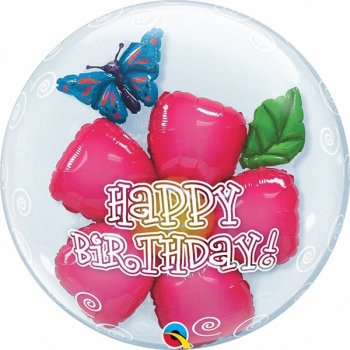 Double Bubble Ballon Happy Birthday Flower