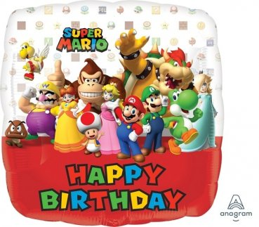 Folienballon Super Mario Happy Birthday