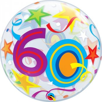 Single Bubble Ballon Birthday Stars 60