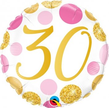 Folienballon 30 Pink & Gold Dots