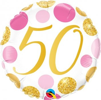Folienballon 50 Pink & Gold Dots