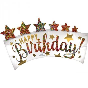 Folienballon - Satin Happy Birthday Glitter Banner