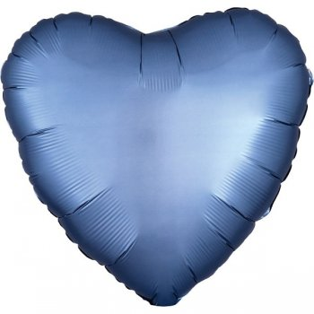 Folienballon - Herz Satin - blau-grau (Steel Blue)