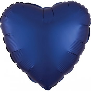 Folienballon - Herz Satin - marineblau (Navy)