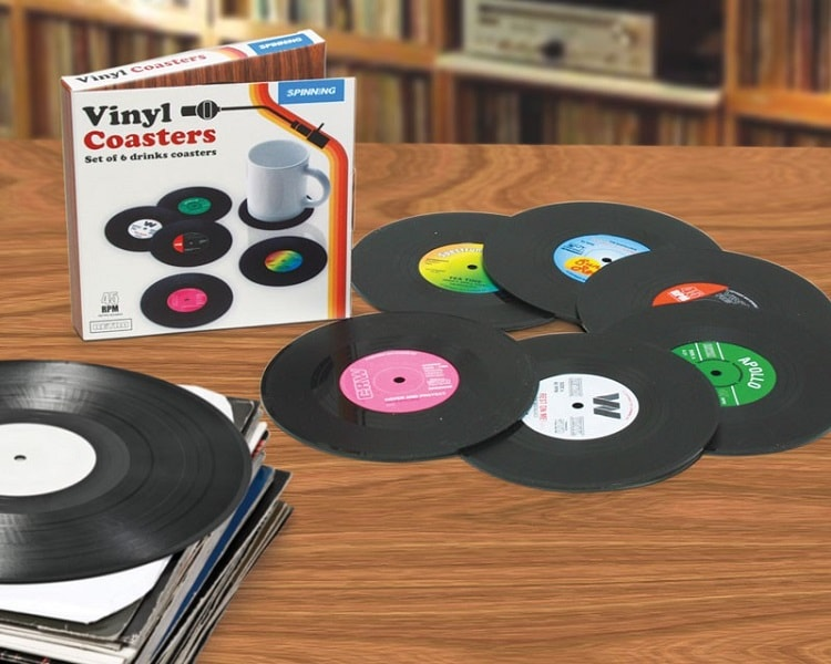 vinyl schallplatten untersetzer 6er set geschenkebude. Black Bedroom Furniture Sets. Home Design Ideas