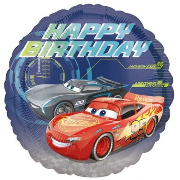 Folienballon Happy Birthday Cars
