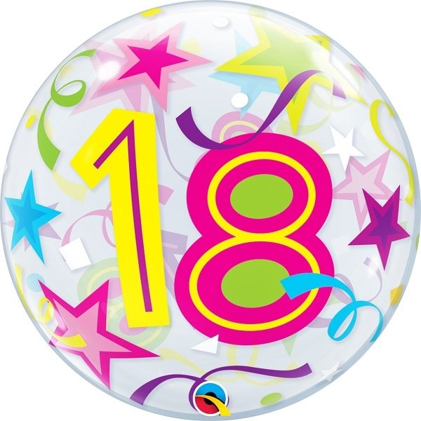 Single Bubble Ballon Birthday Stars 18