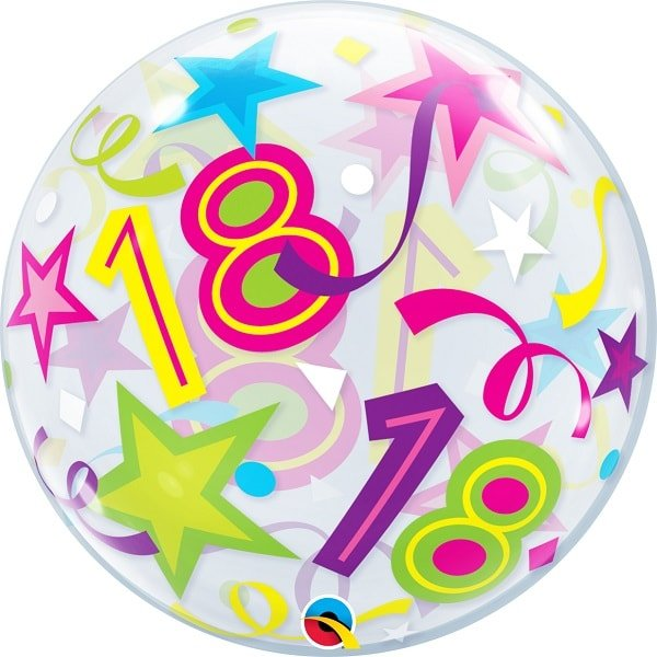Single Bubble Ballon Birthday 18 Stars