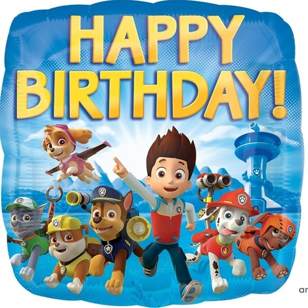Folienballon Happy Birthday Paw Patrol