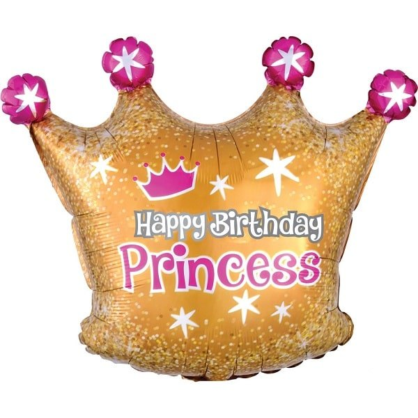 Folienballon Folienballon Happy Birthday Princess Crown