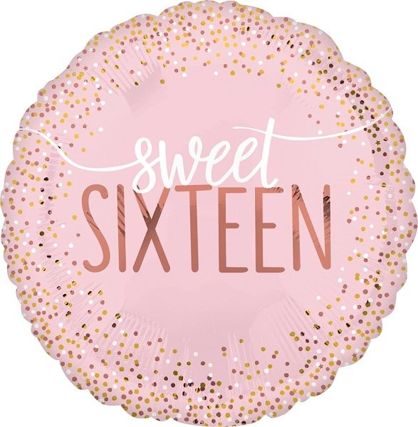Folienballon Sweet Sixteen Blush
